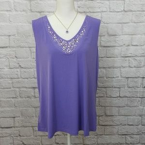 Susan Graver Blouse Tank Top Purple Rhinestone XL